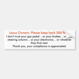 Lexus, guarda detrás pegatina para auto