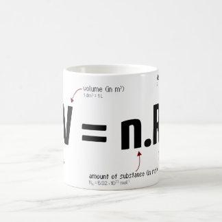 Ley de gas ideal taza básica blanca