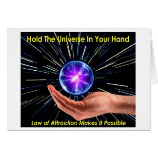 Ley de la atracción - universo a disposición tarjeta de felicitación