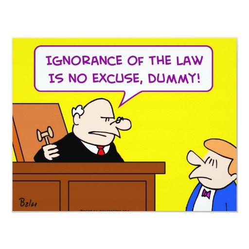 ley de la ignorancia ningún juez simulado de la invitación 10,8 x 13,9 cm