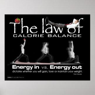 Ley de la impresión de la balanza de la caloría posters