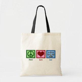 Ley del amor de la paz bolsa tela barata