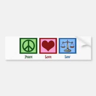 Ley del amor de la paz pegatina para auto
