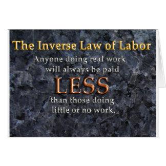 Ley inversa del trabajo tarjeta de felicitación