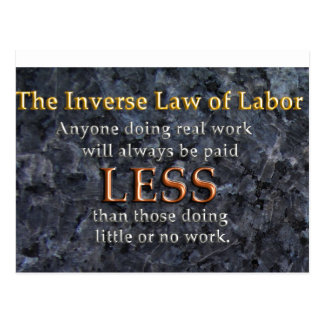 Ley inversa del trabajo tarjeta postal