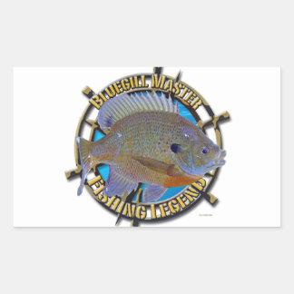 Leyenda de la pesca del Lepomis macrochirus Pegatina Rectangular