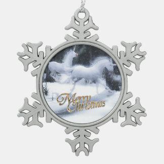 Leyenda de los unicornios adorno de peltre en forma de copo de nieve