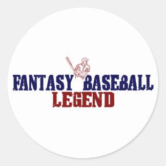 Leyenda del béisbol de la fantasía (2009) pegatina redonda