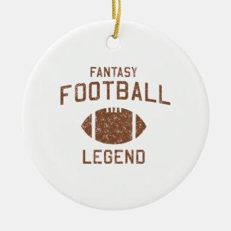 Leyenda del fútbol de la fantasía adorno navideño redondo de cerámica