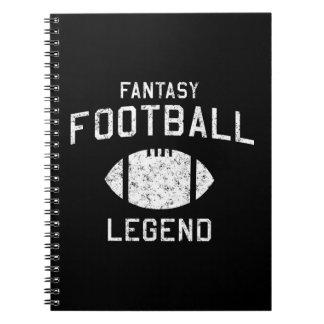 Leyenda del fútbol de la fantasía libros de apuntes con espiral