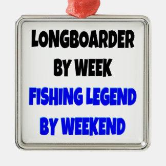 Leyenda Longboarder de la pesca Adorno Cuadrado Plateado