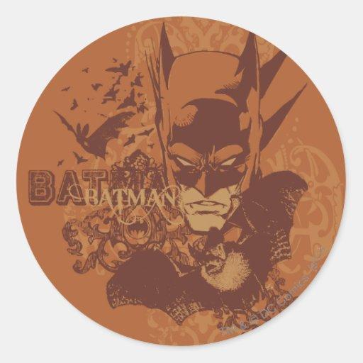 Leyendas urbanas de Batman - máscara anaranjada Pegatina Redonda