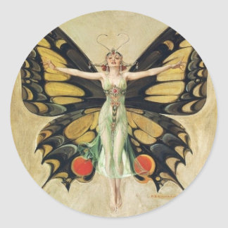 Leyendecker Butterfly Woman Classic Round Sticker