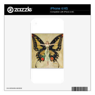 Leyendecker Butterfly Woman Decal For The iPhone 4
