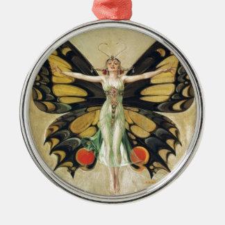 Leyendecker Butterfly Woman Metal Ornament