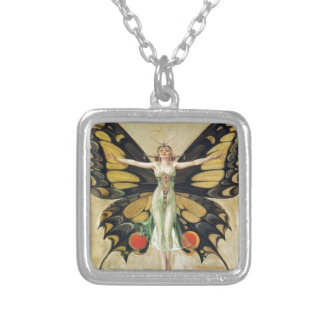Leyendecker Butterfly Woman Silver Plated Necklace