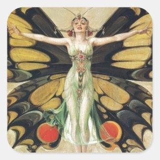 Leyendecker Butterfly Woman Square Sticker