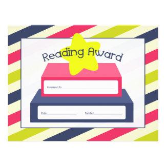 Leyendo el certificado del premio - rayas libro y plantillas de membrete