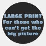 Leyendo la impresión fina (sq) pegatinas redondas