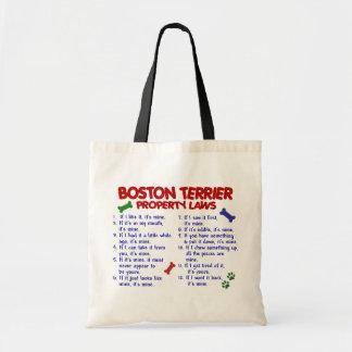 Leyes 2 de la propiedad de Boston Terrier Bolsas Lienzo