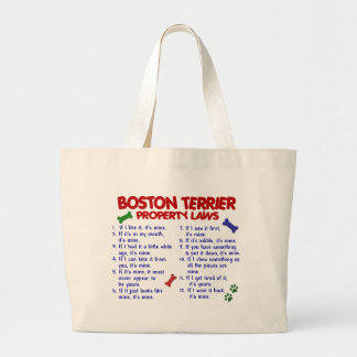 Leyes 2 de la propiedad de Boston Terrier Bolsa Tela Grande