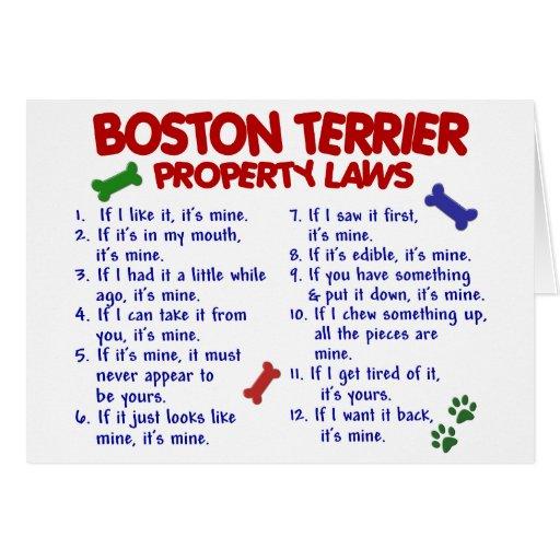 Leyes 2 de la propiedad de Boston Terrier Felicitaciones