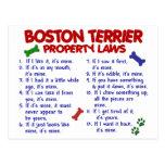 Leyes 2 de la propiedad de Boston Terrier Tarjetas Postales
