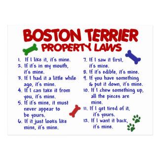 Leyes 2 de la propiedad de Boston Terrier Postales