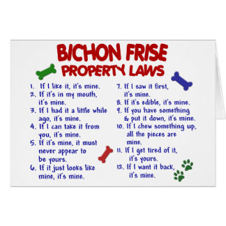 Leyes 2 de la propiedad de FRISE de BICHON Tarjeta De Felicitación