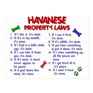 Leyes 2 de la propiedad de HAVANESE Postal