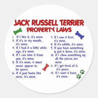 Leyes 2 de la propiedad de JACK RUSSELL TERRIER Pegatina Redonda