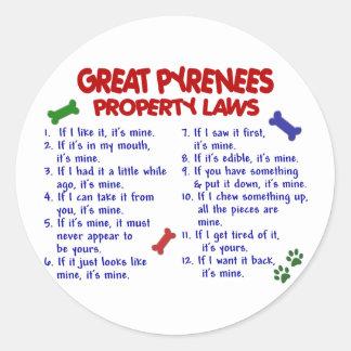 Leyes 2 de la propiedad de los GRANDES PIRINEOS Pegatinas Redondas