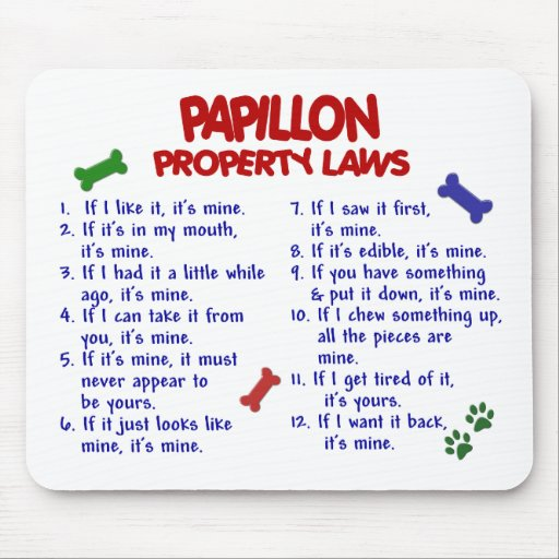 Leyes 2 de la propiedad de PAPILLON Alfombrillas De Ratón