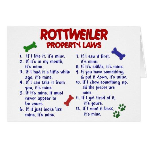 Leyes 2 de la propiedad de ROTTWEILER Tarjeta De Felicitación