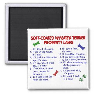 Leyes 2 de la propiedad de SOFT-COATED TERRIER DE  Imán Cuadrado