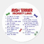 Leyes 2 de la propiedad de TERRIER IRLANDÉS Pegatina Redonda