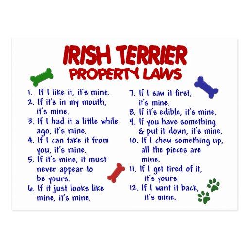 Leyes 2 de la propiedad de TERRIER IRLANDÉS Postal