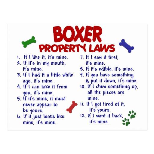 Leyes 2 de la propiedad del boxeador tarjeta postal