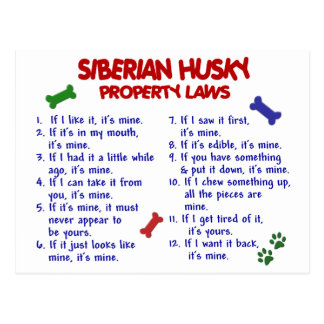 Leyes 2 de la propiedad del HUSKY SIBERIANO Tarjeta Postal