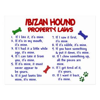 Leyes 2 de la propiedad del PERRO de IBIZAN Tarjeta Postal