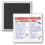 Leyes 2 de la propiedad del PINSCHER del DOBERMAN Imanes Para Frigoríficos