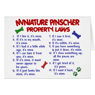Leyes 2 de la propiedad del Pinscher miniatura Tarjeta De Felicitación