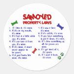 Leyes 2 de la propiedad del SAMOYEDO Etiquetas Redondas
