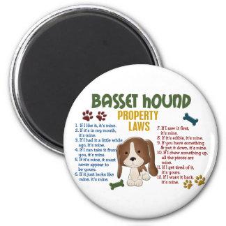 Leyes 4 de la propiedad de Basset Hound Imán Redondo 5 Cm