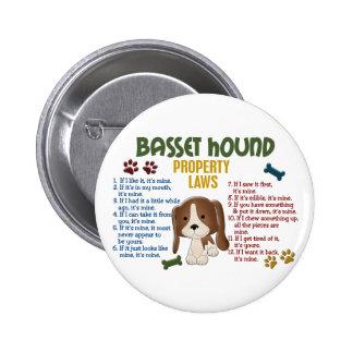 Leyes 4 de la propiedad de Basset Hound Pin Redondo 5 Cm