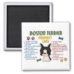 Leyes 4 de la propiedad de Boston Terrier Imán Cuadrado
