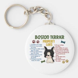 Leyes 4 de la propiedad de Boston Terrier Llavero Redondo Tipo Pin
