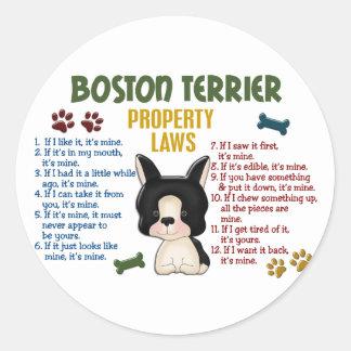 Leyes 4 de la propiedad de Boston Terrier Pegatina Redonda