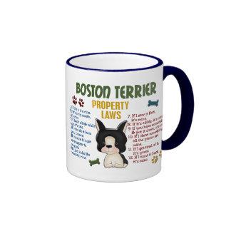 Leyes 4 de la propiedad de Boston Terrier Taza De Dos Colores