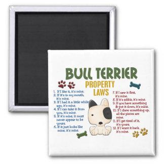 Leyes 4 de la propiedad de bull terrier imanes de nevera
